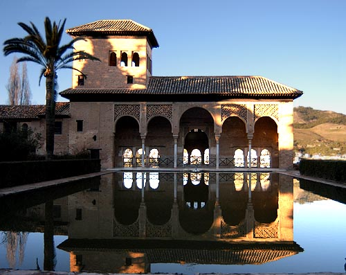 The many reflecting pools in the Alhambra, Spain, have the same effect.